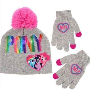 Girls Little Pony Hat and Gloves Set